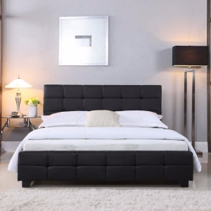Kings Cross PU Leather Black Bed Frame (Queen or Double)