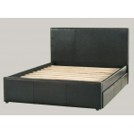 Deluxe Leather King Single Bed with 6 drawers- Black