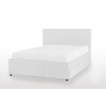 Deluxe Leather Queen Bed with 6 drawers- White