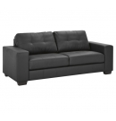 Nola Pu leather 3 Seat Black Sofa