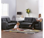 Nola Pu leather 3+2 Seat Black Sofa Package